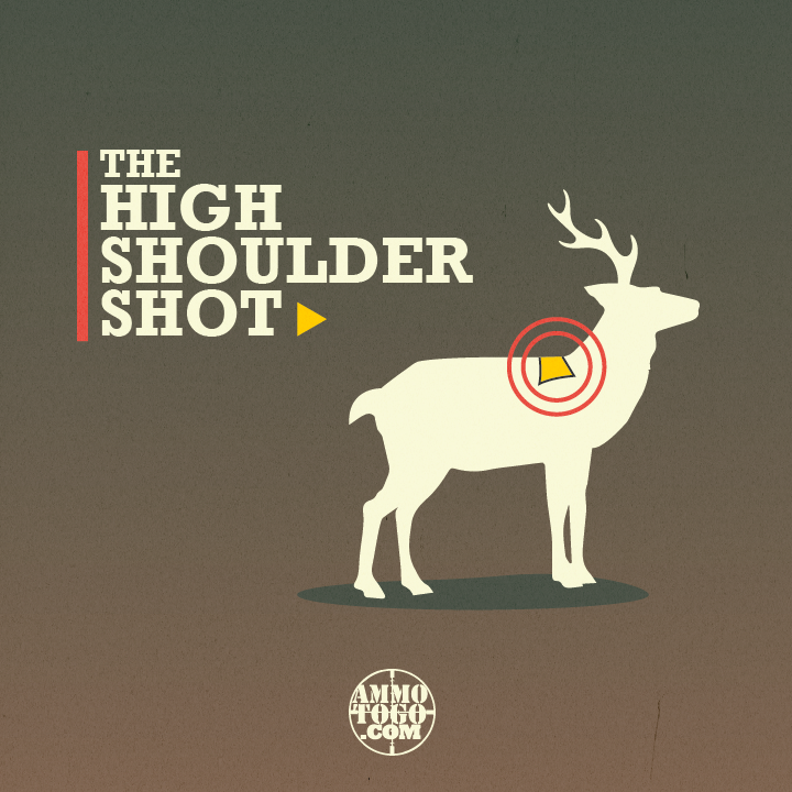 Graphic detailing where to shoot a deer on the high shoulder for a quick, humane kill