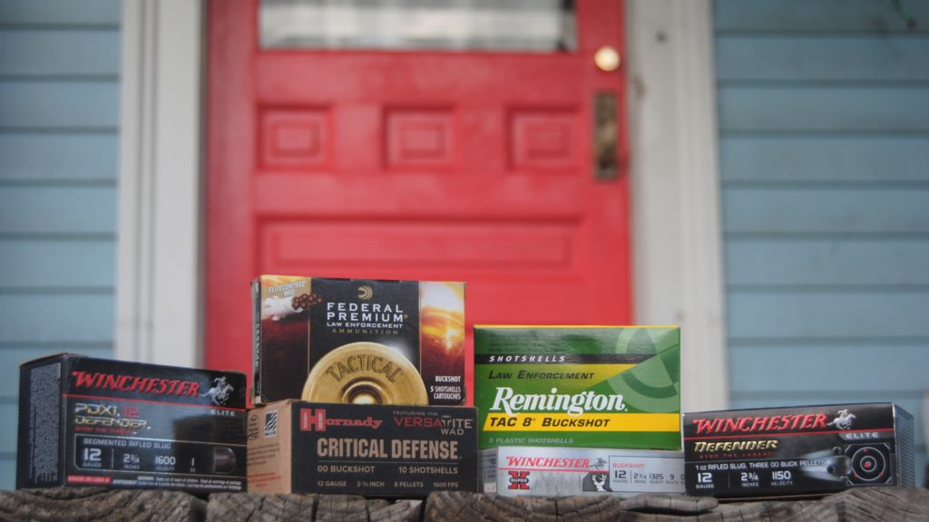 shotgun ammo for home defense on a front porch