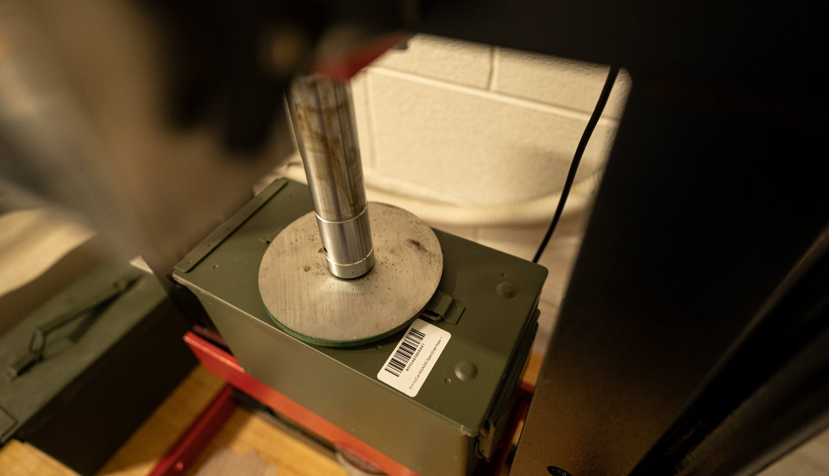 testing ammo can strength with a hydraulic press