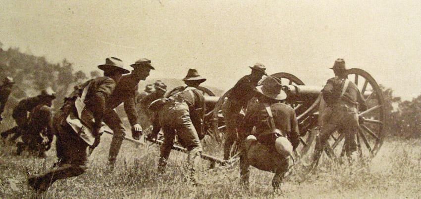 American soldiers battling moro rebels