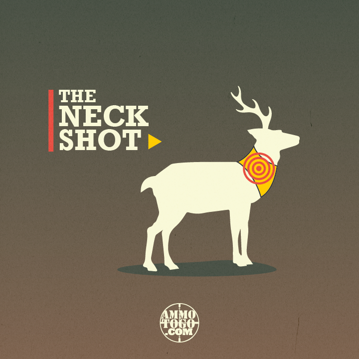 Graphic showing where to shoot a deer in the neck for a humane kill