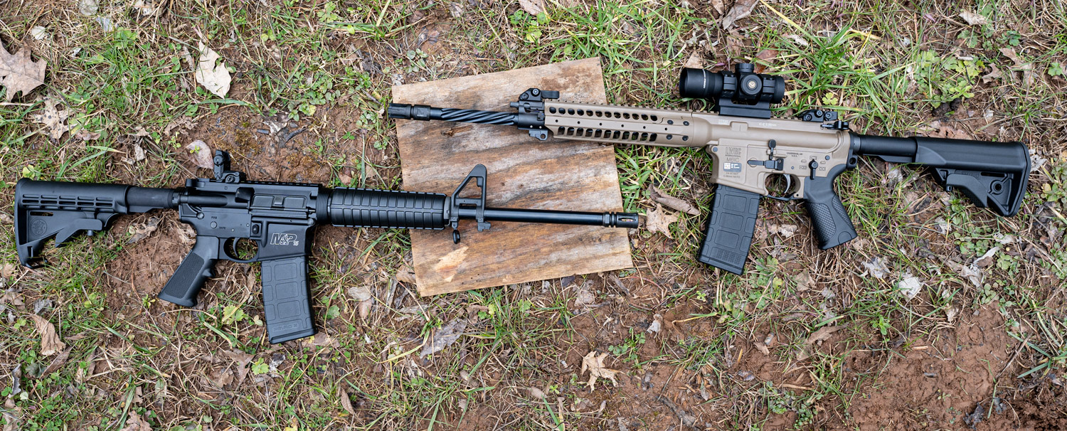 A fluted vs non-fluted barrel AR-15 rifle side by side