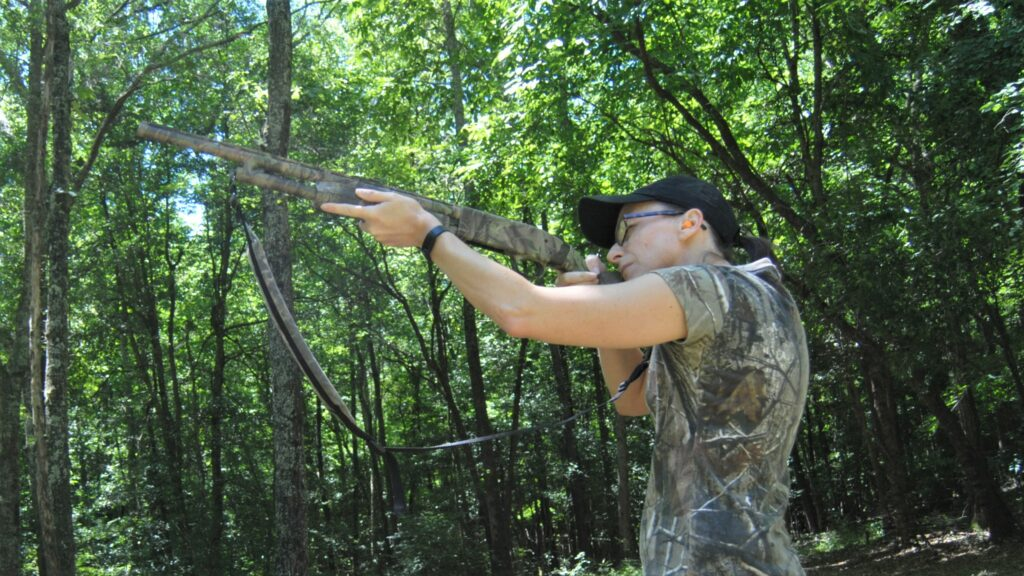 The author showing the correct way to shoulder a shotgun at the range