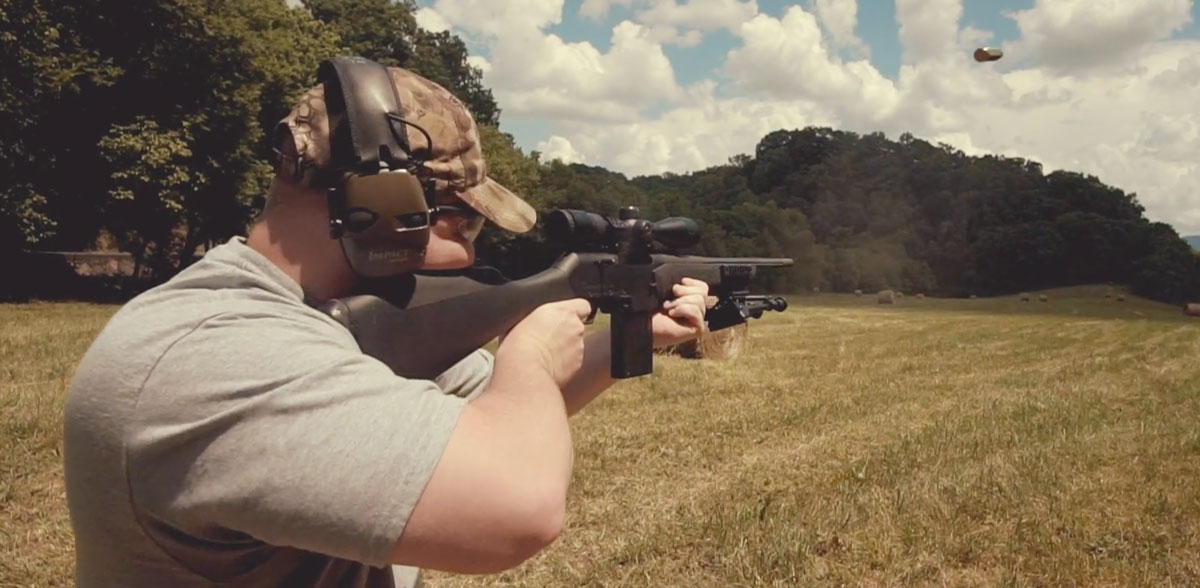 Shooting a .308 rifle at the range