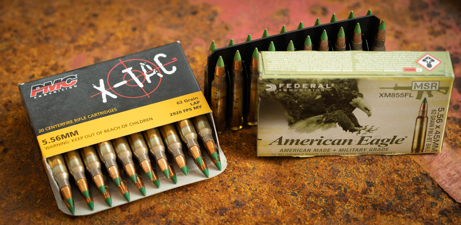 PMC and Federal M855 ammo on a table