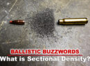 Bullet, powder and casing demonstrating the parts of sectional density