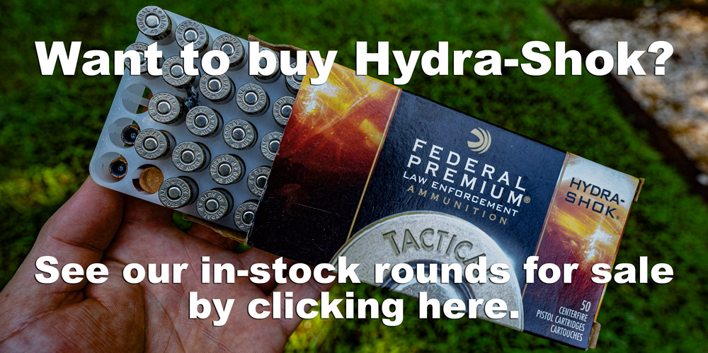 A box of hydra-shok ammo with a link where visitors can buy the ammunition